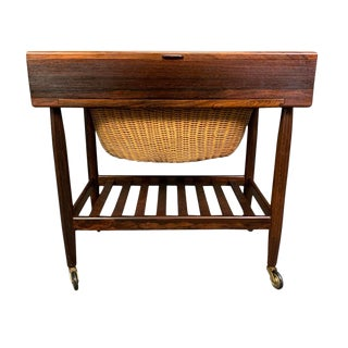 Vintage Danish Mid Century Modern Rosewood Sewing Cart by Ejvind Johansson For Sale