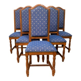 Antique French Oak Dining Chairs in Blue Fabric - Set of 6 For Sale