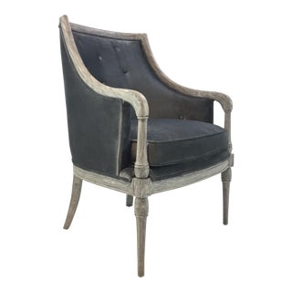 Transitional Gray Velvet Button Back Lounge Chair For Sale