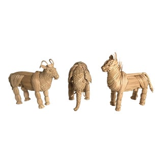Mid-Century WickerAnimals, Set of 3 For Sale
