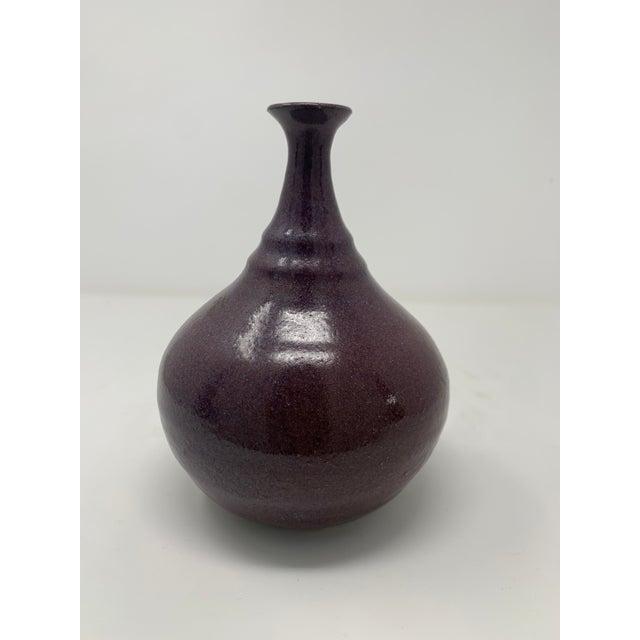 Mid-Century Modern Mid 20th Century Plum Glazed Ceramic Vase For Sale - Image 3 of 11