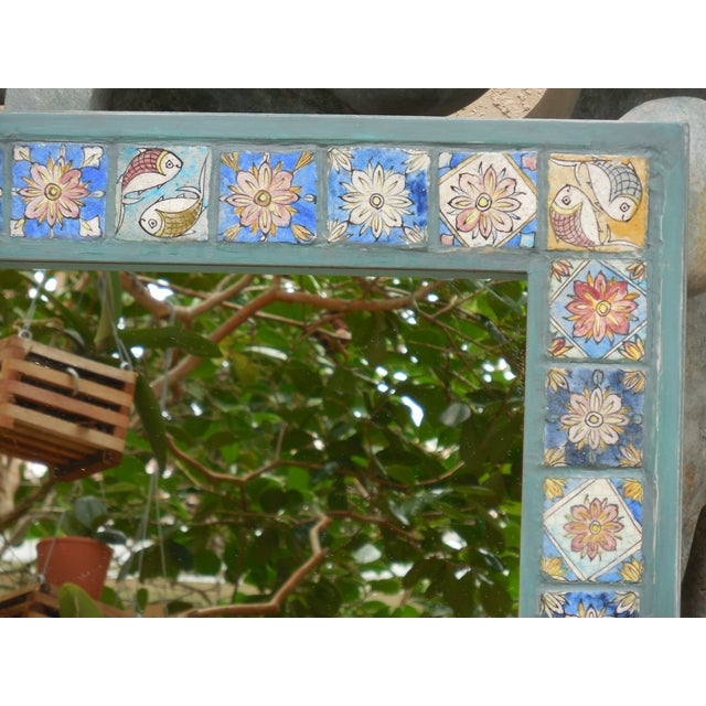 Hand Painted Persian Tile Mirror - Image 3 of 11