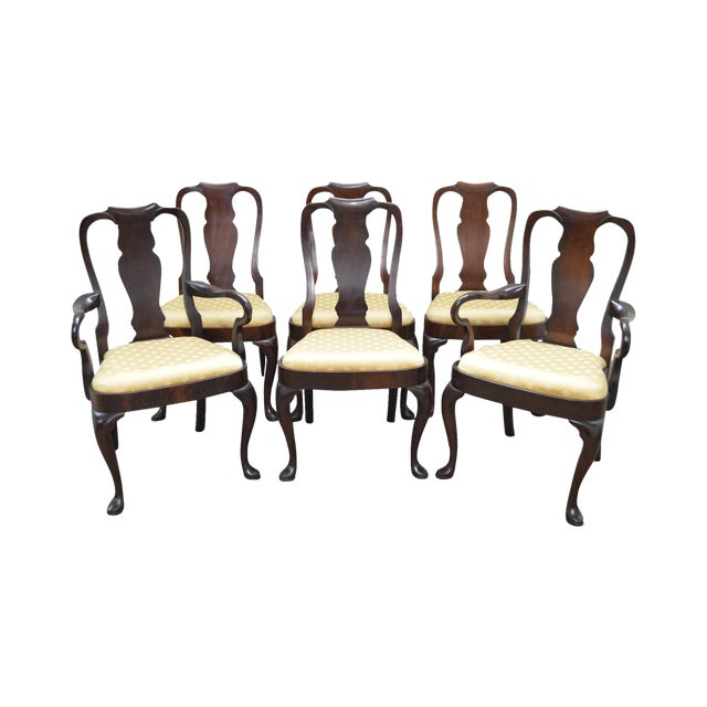 Hickory Chair Co. Set of 6 Mahogany Queen Anne Style Dining Chairs - Image 1 of 10