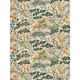 Sample, Scalamandre Kelmescott Hand Block Print Fabric, Peacock on Sand For Sale