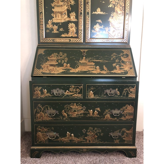 Chinoiserie Emerald Green Color Secretary Cabinet For Sale - Image 4 of 9