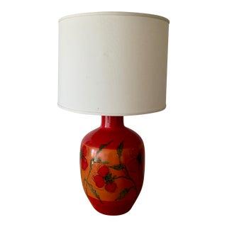 Mid-Century Italian Red and Orange Poppy Ceramic Ginger Jar Lamp
