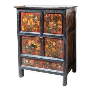 Tibetan Cabinet With Painted Decoration For Sale