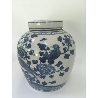 Blue & White Porcelain Chinoiserie Bird Ginger Jar Preview