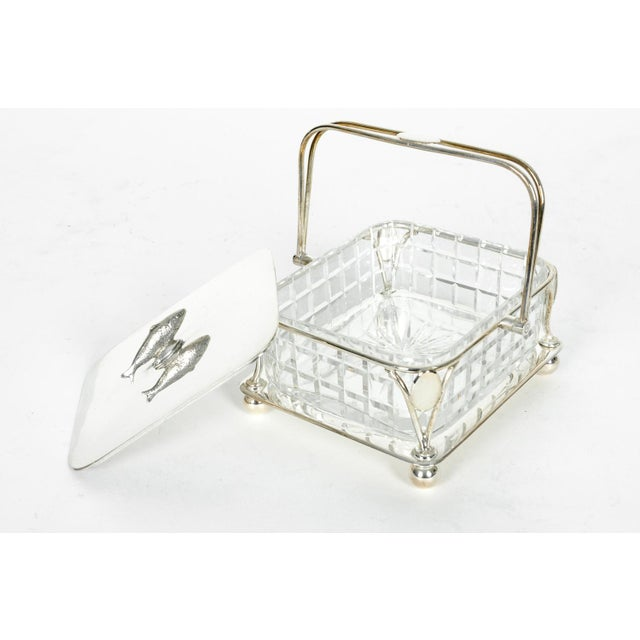 English Traditional Old English Silver Plated Holder/ Cut Crystal Caviar Dish For Sale - Image 3 of 7
