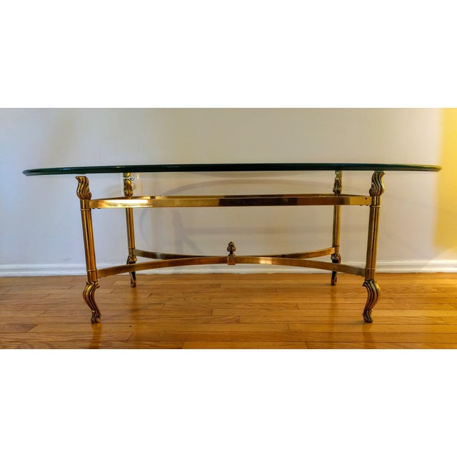 Hollywood Regency La Barge Style Solid Brass and Glass Coffee Table For Sale - Image 4 of 7