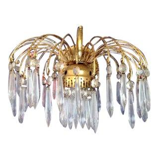Vintage Spanish Brass & Crystal Spider Arm For Sale