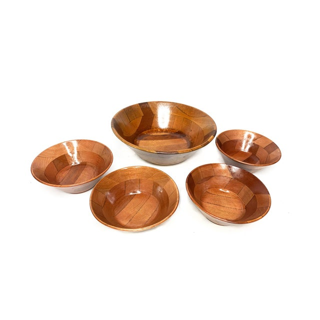 Mid-Century Modern Vintage Mid Century Hand Crafted Wooden Serving Bowls - Set of 5 For Sale - Image 3 of 4