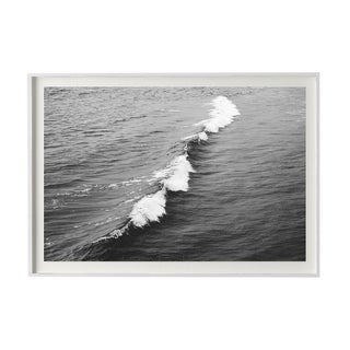 "Black and White Crashing Wave Photograph - Framed 20"" X 30"" in White For Sale"