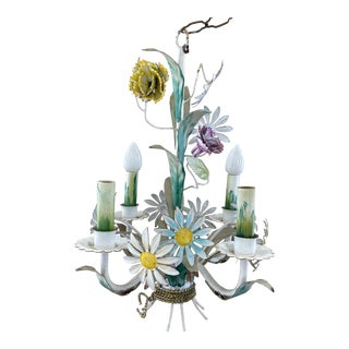 1920s Antique Italian Floral Tole Chandelier For Sale