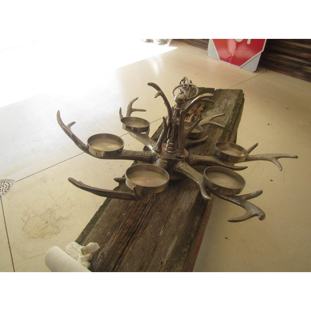 Modern Aluminum Faux Antler Pillar Candle Chandelier For Sale - Image 6 of 9