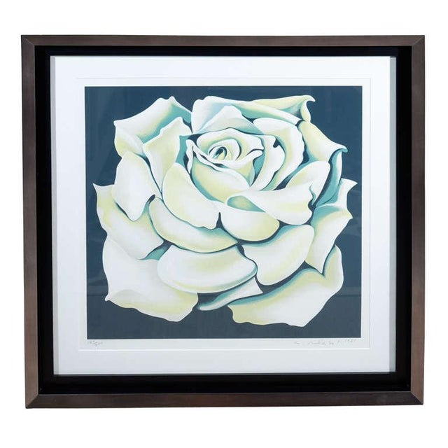 1980's Limited Edition White Rose Lithograph in Custom Frame by Lowell Nesbitt For Sale - Image 10 of 10