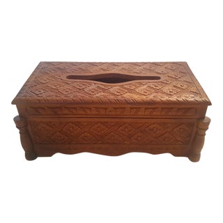 Vintage Handcarved Decorative Wooden Tissue Box