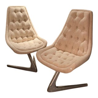 1960's Mid-Century Newly Upholstered Swivel Chairs - A Pair For Sale