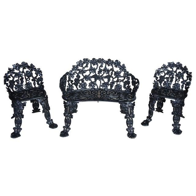 Antique Victorian Cast Iron Grape Vine Garden Furniture-Set Of 3 For Sale - Image 11 of 11