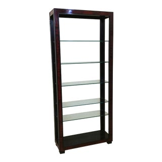 Asian Style Black Lacquer & Red Malachite Bookcase Etageres