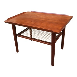 Scandinavian Teak Side Table With Caned Shelf For Sale