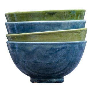 Handcrafted Blue & Green Cereal Bowls - Set of 4 For Sale