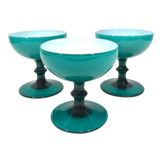 Mid 20th Century Blue Opaline Champagne Coupe Glasses - Set of 3 For Sale