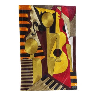 Abstract Cubist Musician Silk Thread Yeb / Yeboah Art, Hand Made For Sale