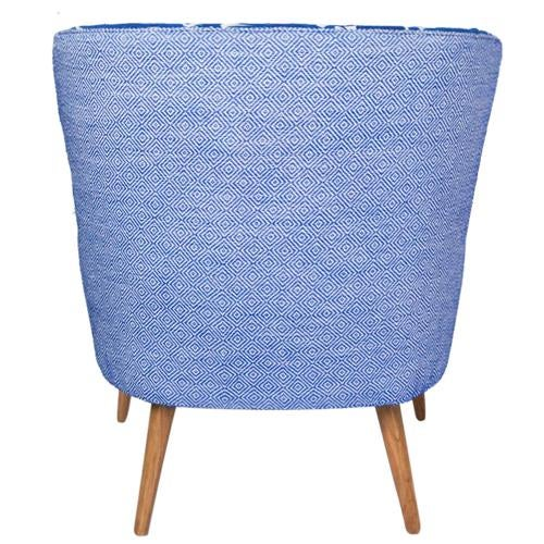 1960s Boho Chic Blue and White Embroidered Lounge Chair For Sale - Image 9 of 11