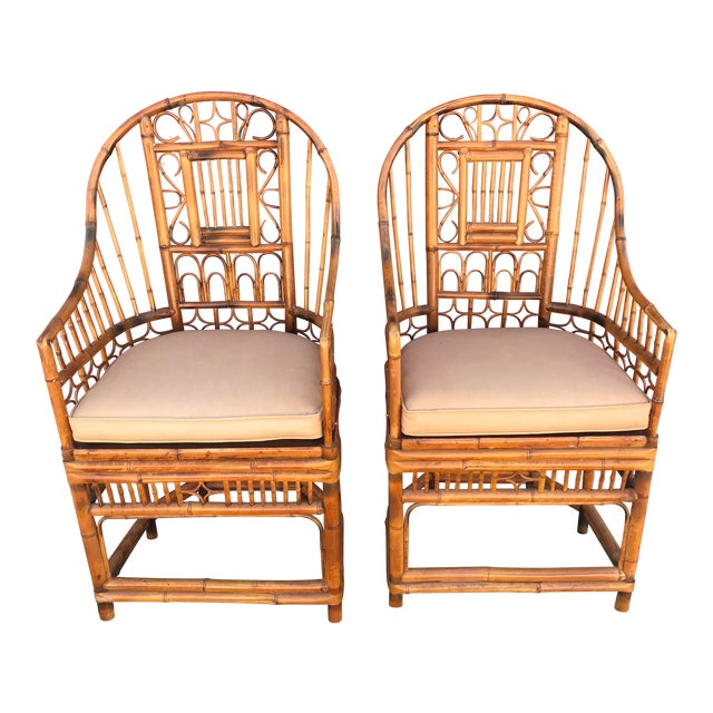 Vintage Mid Century Brighton Pavillion Chinese Chippendale Boho Arm Chairs- A Pair For Sale
