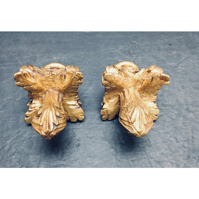 Niermann Weeks Gilded Acanthus Finials Drapery Rod or Other Use - a Pair For Sale - Image 5 of 5