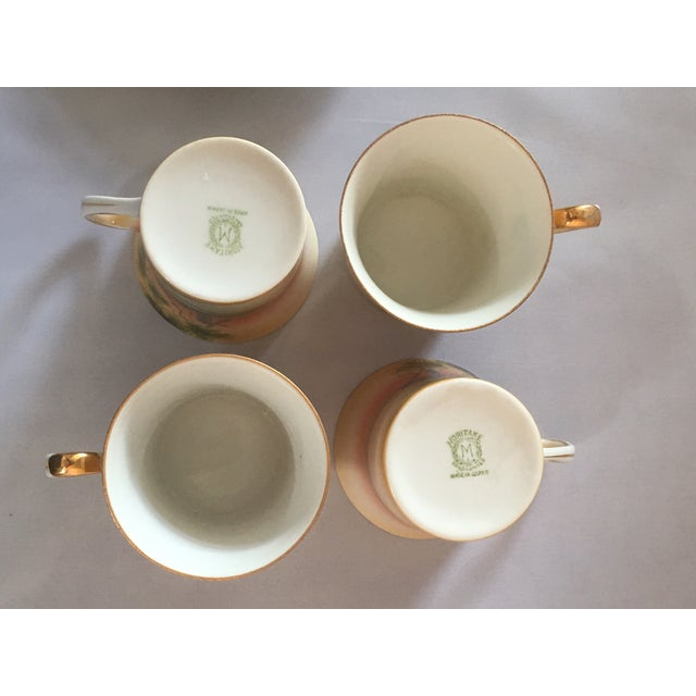 Handpainted Noritake Windmill Scene Cups & Saucers - Set of 4 For Sale - Image 10 of 11