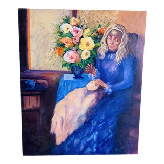 Vintage Mid Century Portrait of a Woman Oil Painting Circa 1960s For Sale