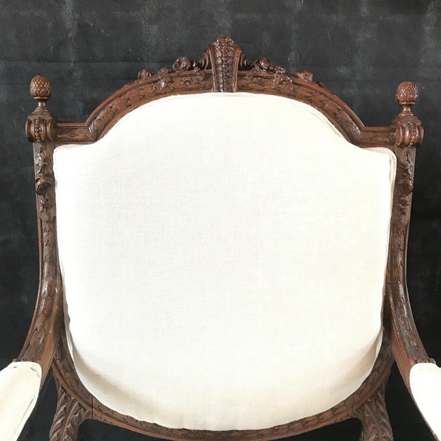 French Carved Walnut Armchairs - a Pair For Sale - Image 9 of 11