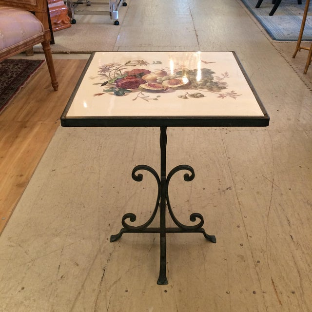 Metal 1950s Traditional Tile Occasional Table on Metal Stand For Sale - Image 7 of 7