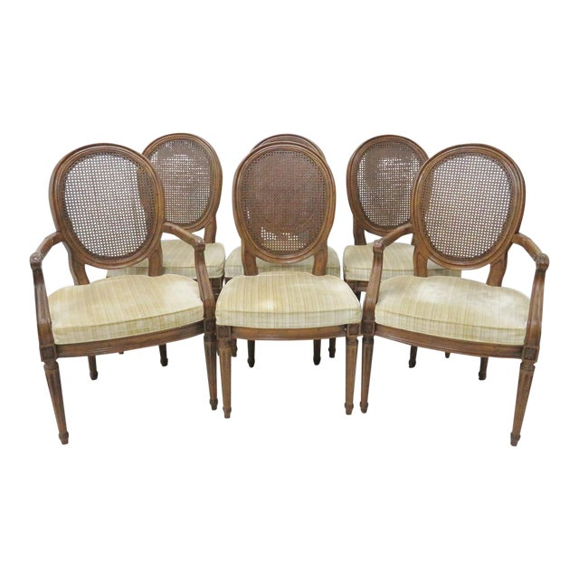 Louis XVI Style Caned Back Dining Chairs - Set of 6 - Image 1 of 8