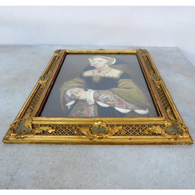 English Renaissance Decorative Period Framed Portrait Print of Jane Seymour, Wife of Henry VIII For Sale - Image 3 of 7