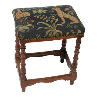 17th Century French Needlepoint Stool For Sale