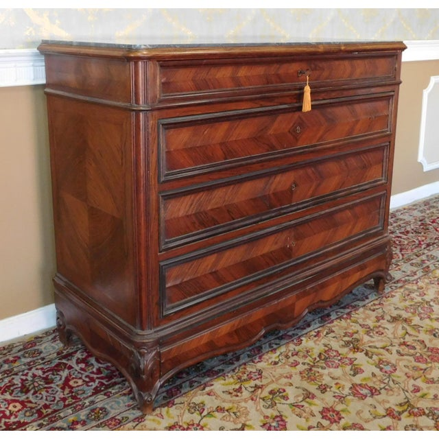 Description: Antique French Directoire style black marble top 5 drawer carved walnut bedroom chest. Inset black marble top...