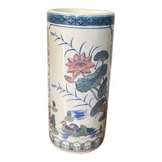 Vintage 1960s Chinese Famille Rose Porcelain Umbrella Stand or Vase For Sale