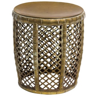 1960s Solid Brass Garden Stool For Sale