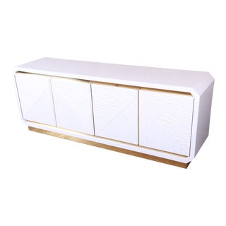 Mid-Century Hollywood Regency White Lacquered Bamboo and Brass Sideboard Credenza, Newly Refiinished For Sale