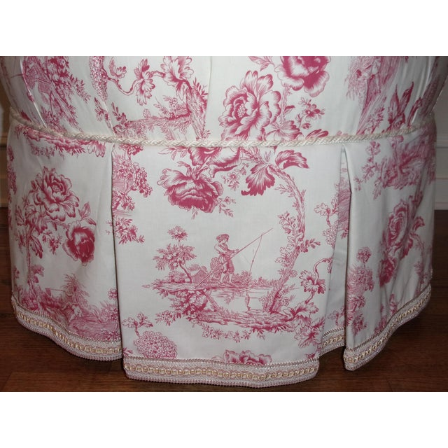 1950s French Rose Toile Ottoman With Custom Braid and Band Trims For Sale - Image 5 of 9
