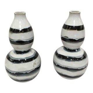 Black & White Striped Vases - a Pair