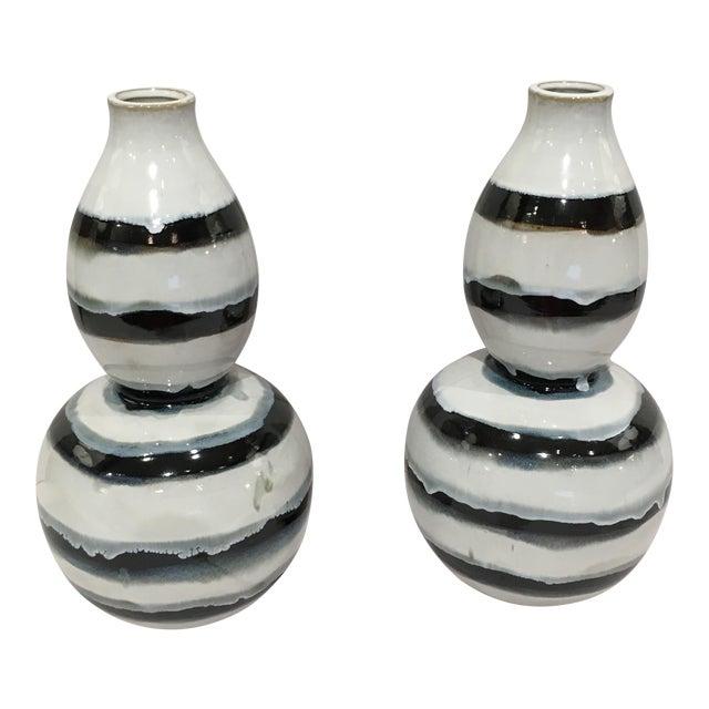Black White Striped Vases A Pair Chairish