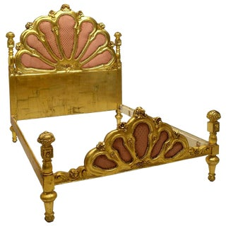 Italian Carved Giltwood Queen Upholstered Bedframe For Sale