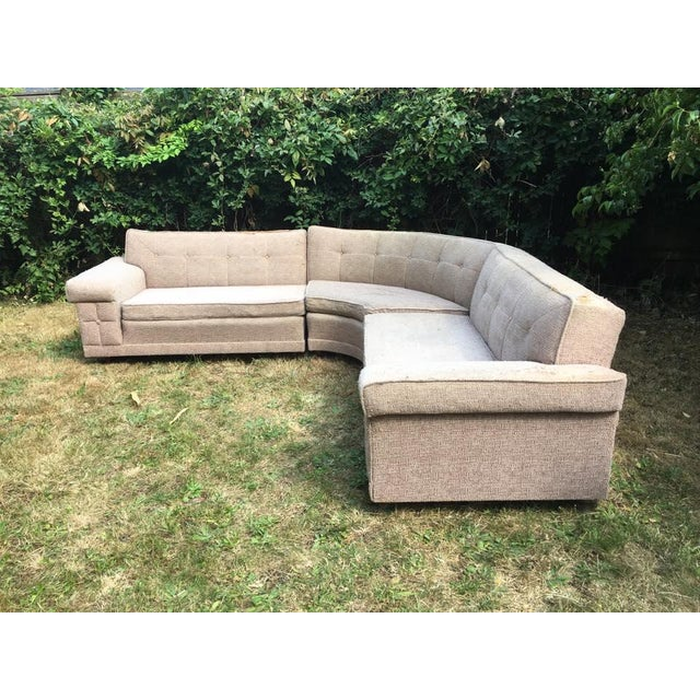 Mid century 3 piece sectional sofa chairish for Mid century 3 piece sectional sofa