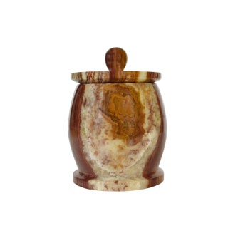 Hand Carved Polished Natural Onyx Stone Storage Jar For Sale
