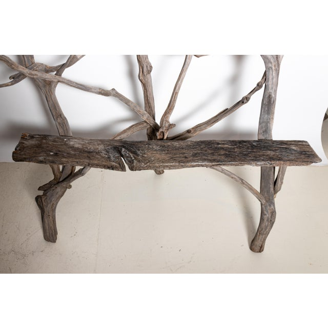 Wood English Country Reclaimed Driftwood Garden Bench For Sale - Image 7 of 11