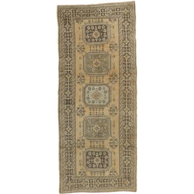 Textile Vintage Mid-Century Turkish Oushak Runner Rug - 5′ × 12′ For Sale - Image 7 of 7